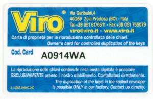 La carte codée qui permet la duplication des clés de secours des coffres-forts Viro uniquement au propriétaire légitime.