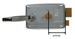 L'entrée est la distance entre le centre du cylindre et la plaque d'où sort le pêne demi-tour.