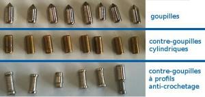 La rangée du haut montre les goupilles ; la rangée centrale, les contre-goupilles traditionnelles à profil cylindrique ; et la rangée du bas, diverses contre-goupilles à profils anti-crochetage.