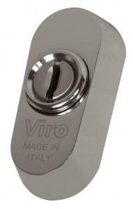 La rosace universelle Viro peut être montée sur la quasi-totalité des serrures à cylindre européen, même sans trous DIN.