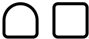 À gauche, la section semi-carrée, caractérisée par une partie carré et une partie ronde; à droite, la section carrée, caractérisée par tous les angles droits.