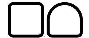 À gauche, la section carrée, caractérisée par tous les angles droits; à droite, la section semi-carrée, caractérisée par une partie carrée et une partie ronde.