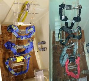 À gauche, les produits originaux Viro dans la machine à brouillard salin avant le test et, à droite, les imitations.