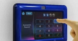 Exemple de saisie du code secret sur un boîtier de commande tactile.