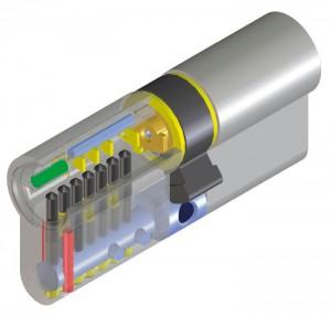 Le cylindre de haute sécurité Viro Palladium. Les broches anti-perçage prévues dans le corps sont mises en évidence en rouge ; la broche anti-perçage prévue dans le barillet est mise en évidence en vert. Dans ce cas, les goupilles et les contre-goupilles (mises en évidence en noir) ont elles aussi une fonction anti-perçage.